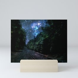 Train Tracks : Next Stop Anywhere Blue Side View Mini Art Print