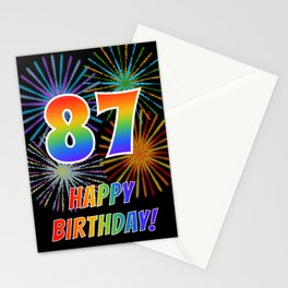 "87th Birthday ""87"" & ""HAPPY BIRTHDAY!"" w/ Rainbow Spectrum Colors + Fun Fireworks Inspired Pattern Stationery Cards"