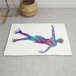Girl Figure Skating Colorful Watercolor Rug