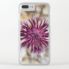 Purple Spiny Plumeless Thistle Clear iPhone Case