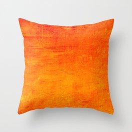 Orange Sunset Textured Acrylic Painting Throw Pillow