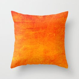 Orange Sunset Textured Acrylic Painting Throw Pillow