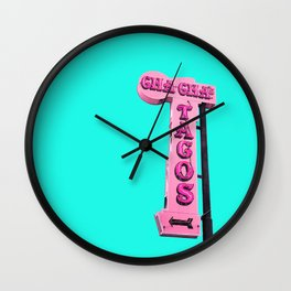 Cha-Cha's Tacos Retro Vintage Pink Sign Wall Clock