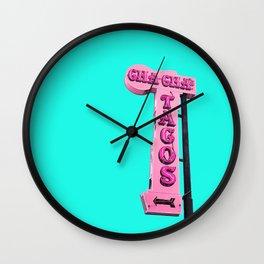 Cha-Cha's Tacos Retro Vintage Pink Sign Wall Clock