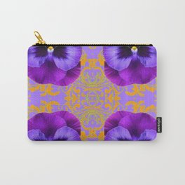FOUR  PURPLE PANSIES ON LILAC  BROCADE GARDEN Carry-All Pouch