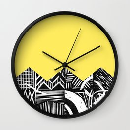 Lemon lino bright Wall Clock