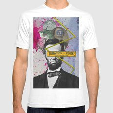 Public Figures -  Lincoln Mens Fitted Tee White MEDIUM