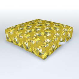 Mustard yellow botanical Floral watercolor /  Yellow Roses on mustard Outdoor Floor Cushion