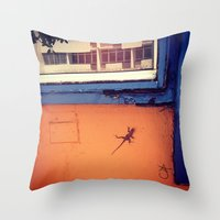 puerto rico Throw Pillows featuring Lizard in Puerto Rico by ANoelleJay