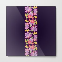 Floral Pattern On Purple Metal Print