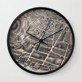 Vintage Pictorial Map of Poughkeepsie NY (1871) Wall Clock