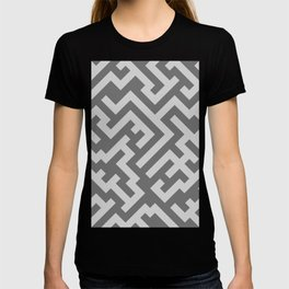 Light Gray and Dark Gray Diagonal Labyrinth T-shirt