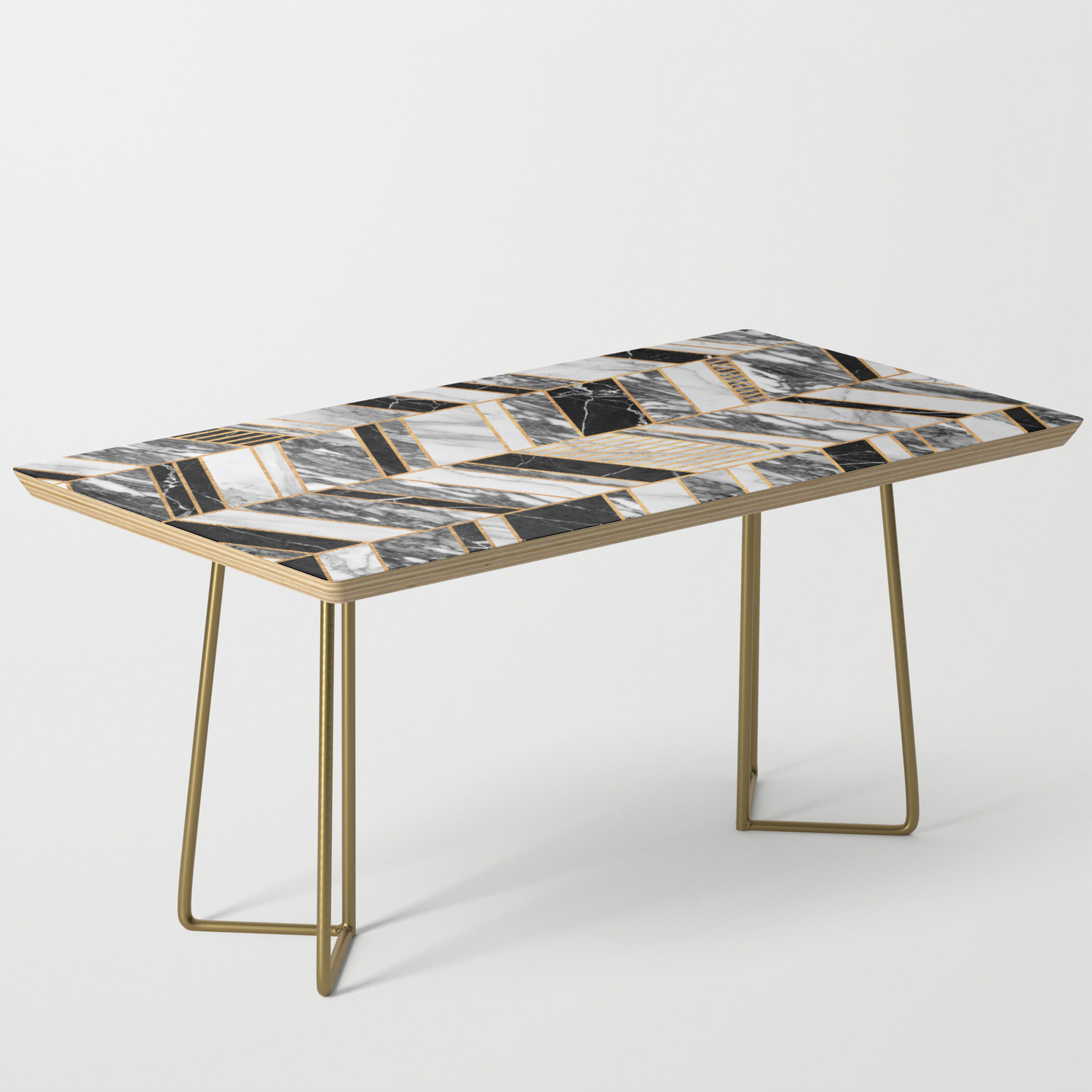 Abstract Chevron Pattern Black And White Marble Coffee Table By