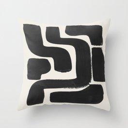 Black Ink Paint Brush Strokes Abstract Organic Pattern Mid Century Style Throw Pillow