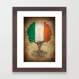 Vintage Tree of Life with Flag of Ireland Framed Art Print