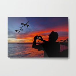 Drone Family Tropical Vacation Metal Print