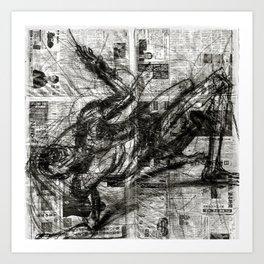 Breaking Loose - Charcoal on Newspaper Figure Drawing Art Print