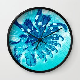 Abstract Art in Blue Fractal Wall Clock