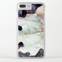 Rain on leaf Clear iPhone Case