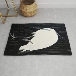 Egret standing in rain - Japanese vintage woodblock print Rug