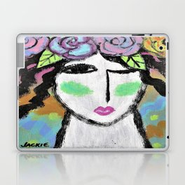 Roses in Her Hair Abstract Portrait of a Woman Laptop & iPad Skin