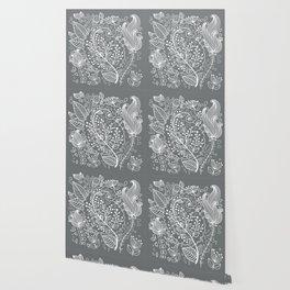 Floral Grey White Wallpaper