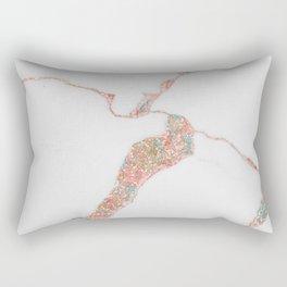 Rose Gold White Sparkles Marble Pink Rectangular Pillow