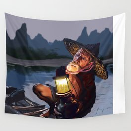 Night Fisher Wall Tapestry