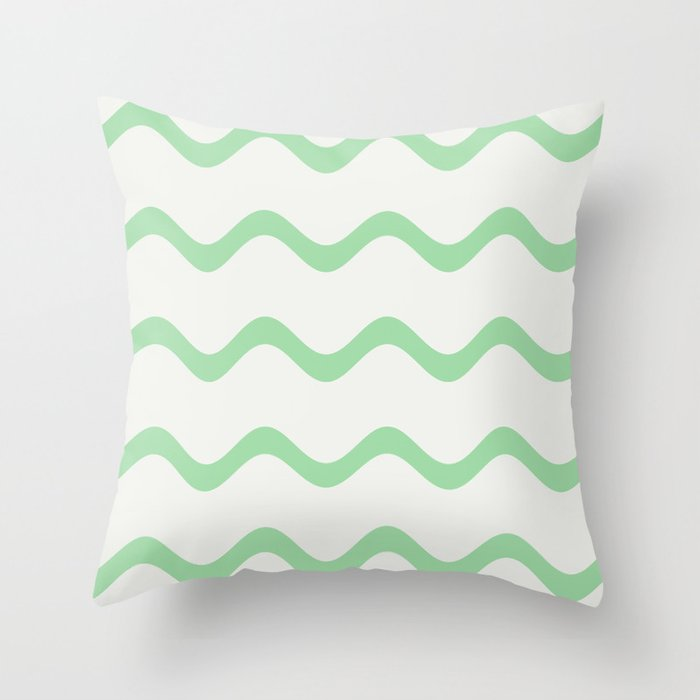 Pastel Green Soft Rippled Horizontal Line Pattern on Linen White 2020 Color of the Year Neo Mint Throw Pillow