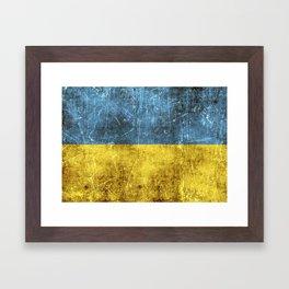 Vintage Aged and Scratched Ukrainian Flag Framed Art Print