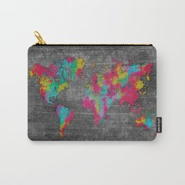 world map 81 dark color mosaic Carry-All Pouch