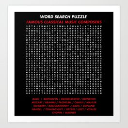 """Word search puzzle """"Famous Classical Music Composer"""" Art Print"""