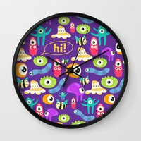 monsters Wall Clocks featuring monsters by Ceren Aksu Dikenci