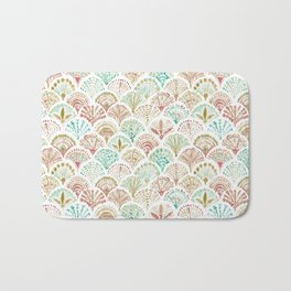 SHELL OUT Coral + Mint Mermaid Scales Bath Mat