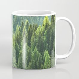Pine tree forest in the morning fog Coffee Mug