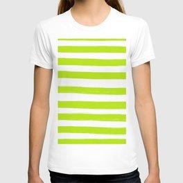 Summer Green Stripes White Background #decor #society6 #buyart T-shirt