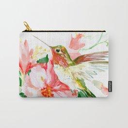 Hummingbird, Hawaiian Design, Hibiscus and Hummingbird Carry-All Pouch