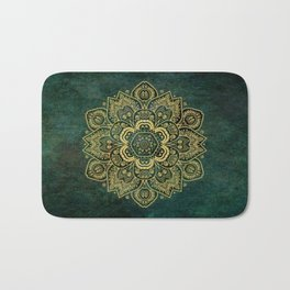 Golden Flower Mandala on Dark Green Bath Mat