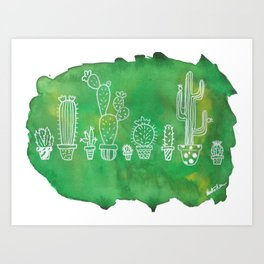 Cacti Line Up Art Print