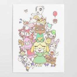 Animal Crossing mashup (white) Poster