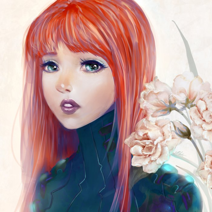 Captain Goldfish - Anime sci-fi girl with red hair portrait Comforters