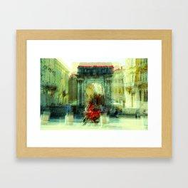 The Essence of Croatia - Red Motorbike in Pula Framed Art Print