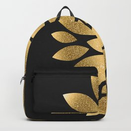 Pretty gold faux glitter abstract flower illustration Backpack