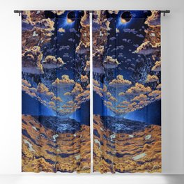 Alternate Realities; Cylindrical Colonies, eclipse of the sun with view of clouds and vegetation magical realism portrait painting Blackout Curtain
