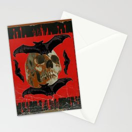 GRUNGY HALLOWEEN BAT INFESTED HAUNTED SKULL Stationery Cards