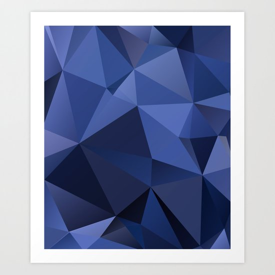 Abstract of triangles polygon in navy blue colors Art Print