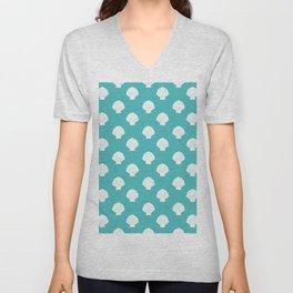 Seashells (White & Teal Pattern) Unisex V-Neck
