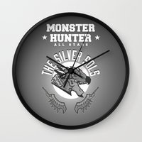 monster hunter Wall Clocks featuring Monster Hunter All Stars - The Silver Sols by Bleached ink