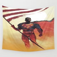 superman Wall Tapestries featuring Superman by Dave Seguin