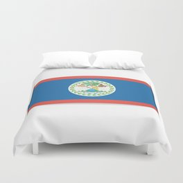Flag of Belize. The slit in the paper with shadows. Duvet Cover